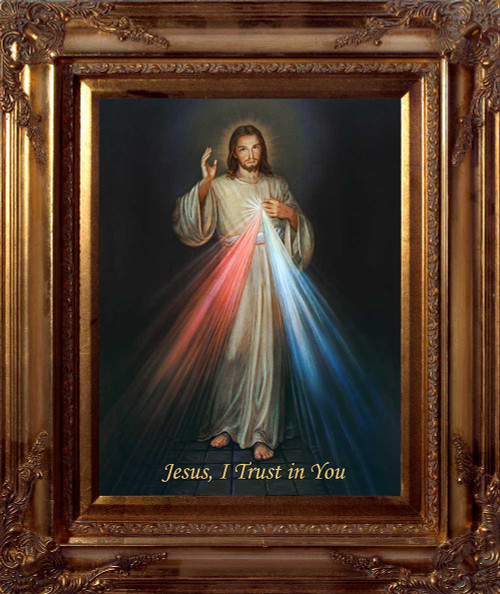 Divine Mercy Canvas - Gold Museum Framed Art
