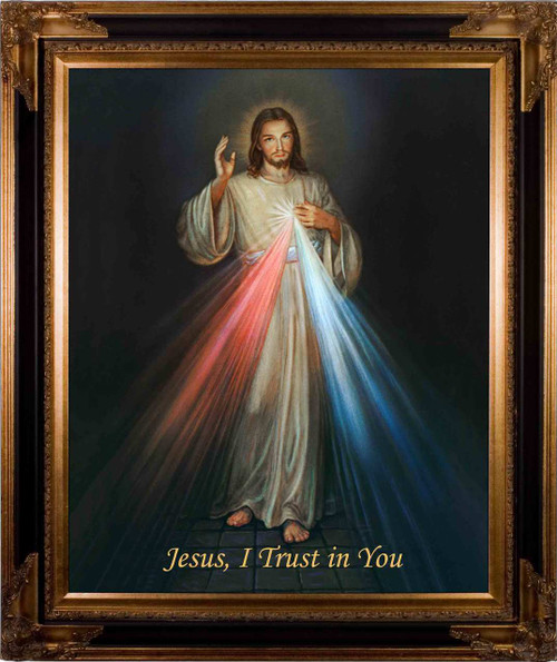 Divine Mercy Canvas - Dark Museum Framed Art