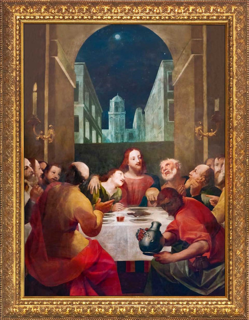 Last Supper at Moonrise - Gold Framed Art