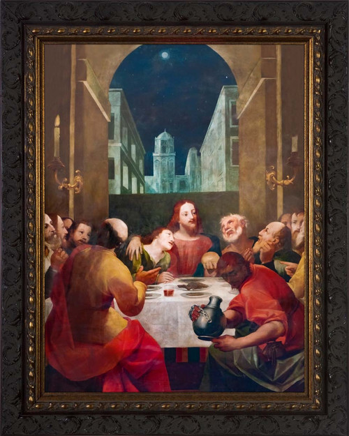 Last Supper at Moonrise - Ornate Dark Framed Art