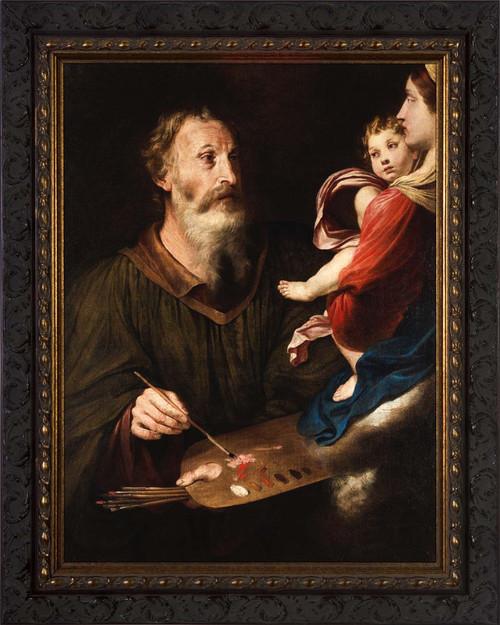 Saint Luke Painting the Virgin by Simone Cantarini - Ornate Dark Framed Art