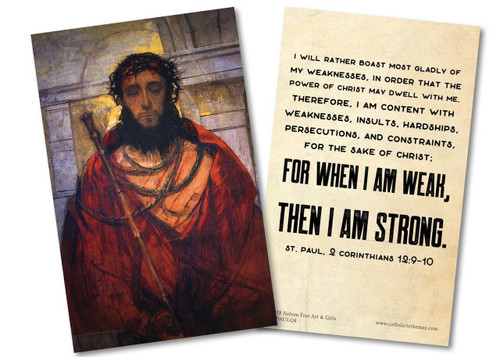 """I Will Rather Boast Most Gladly"" St. Paul Quote Holy Card"