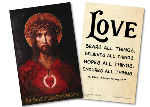 """Love Bears All Things"" St. Paul Quote Holy Card"