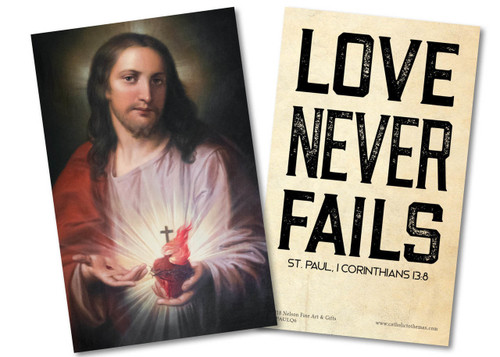 """Love Never Fails"" St. Paul Quote Holy Card"