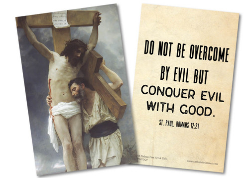 """Do Not Be Overcome"" St. Paul Quote Holy Card"