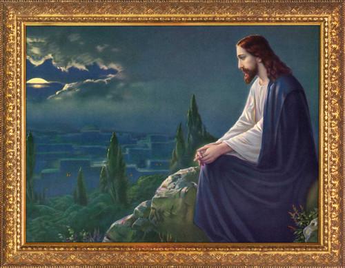 Christ on the Mount of Olives by Josef Untersberger - Gold Framed Art