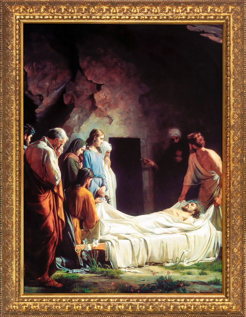 The Burial of Christ by Carl Bloch - Gold Framed Art