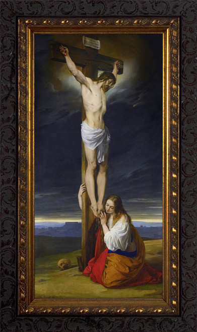 Crucifixion with Mary Magdalene Kneeling and Weeping by Francesco Hayez - Ornate Dark Framed Art