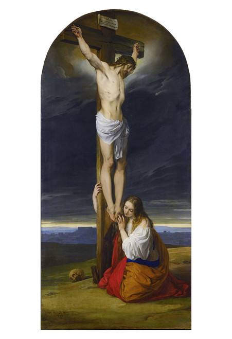 Crucifixion with Mary Magdalene Kneeling and Weeping by Francesco Hayez Print