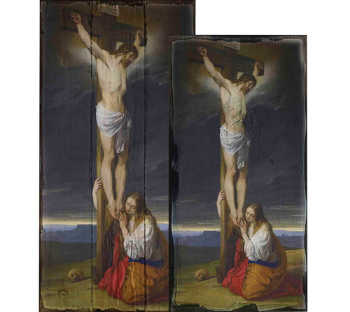 Crucifixion with Mary Magdalene Kneeling and Weeping by Francesco Hayez Rustic Wood Plaque