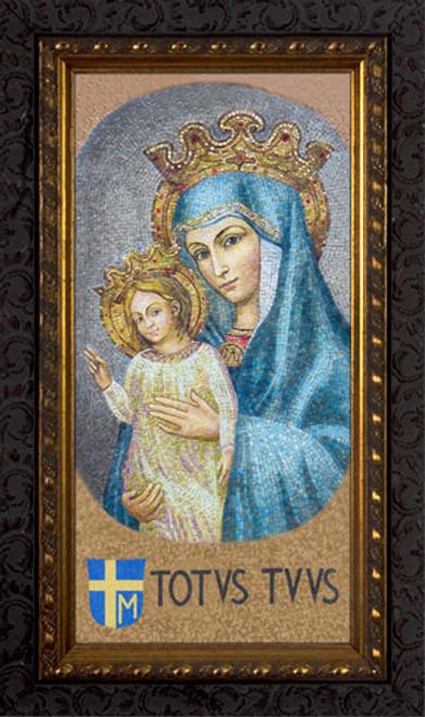 Mater Ecclesiae - Mosaic with Totus Tuus - Ornate Dark Framed Art
