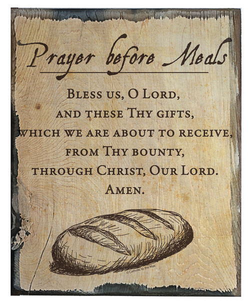 Prayer Before Meals Rustic Wood Plaque