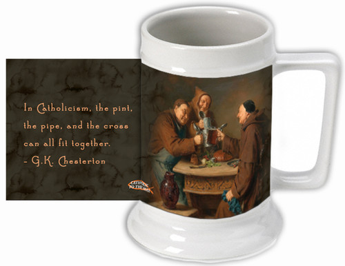 """G.K. Chesterton """"Pint, Pipe, and Cross"""" Quote Beer Stein"""