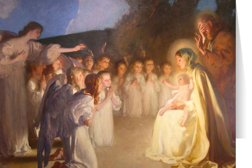 Adoration of the Christ Child by Carl von Marr Christmas Greeting Card  (Box of 25)