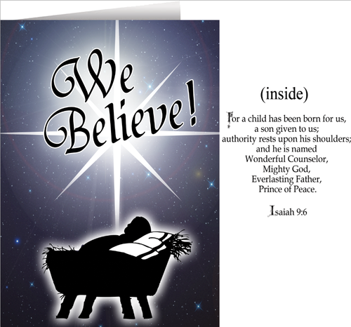 We Believe Greeting Christmas Cards - Box of 25
