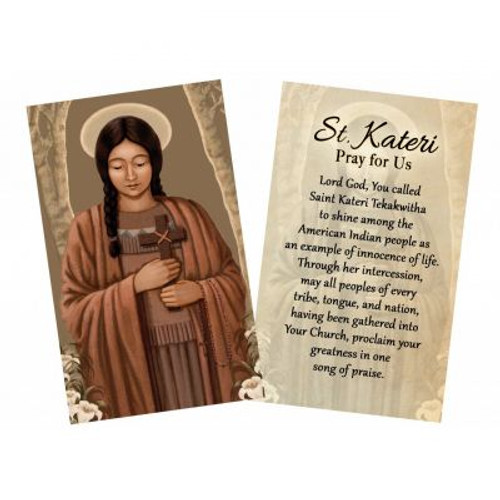 """Holding on to the Faith"" (St. Kateri) by Nellie Edwards Holy Card"