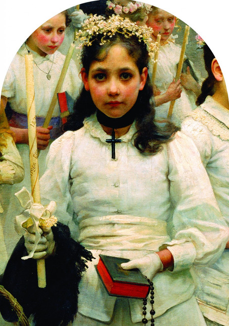 After the First Holy Communion (Detail 1 Girl) Arched Magnet