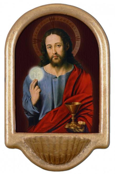 Christ With Eucharist Holy Water Font