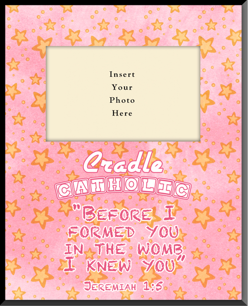 Cradle Catholic Pink Vertical Picture Frame (Insert Your Photo)