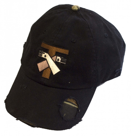 Jesus and St. Francis Tau Cross Distressed Black Hat