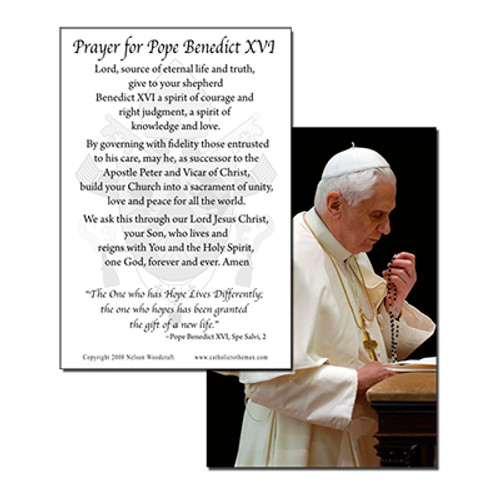 Pope Benedict Praying the Rosary Holy Card