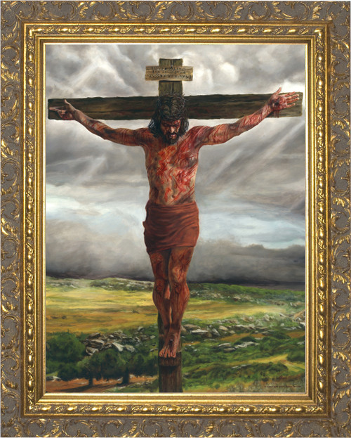 Crucifixion By Jason Jenicke - Gold Framed Art