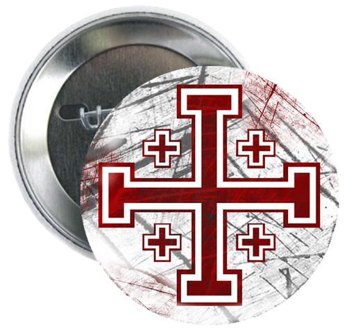 Cross of Jerusalem Button