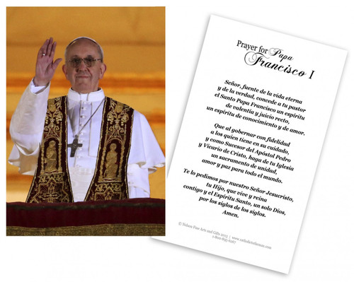 Tarjeta Religiosa Del Papa Francisco Dando Su Bendicion (Pope Francis Spanish Prayer Cards)