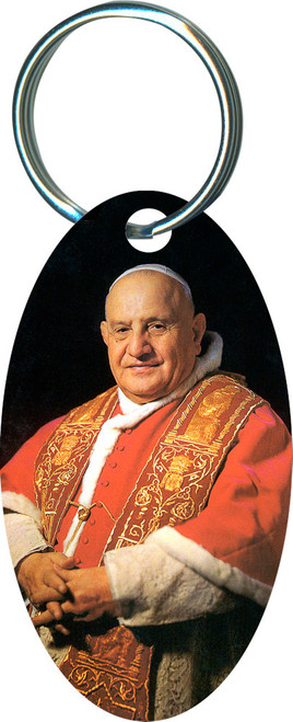 Pope John XXIII Sainthood Oval Keychain
