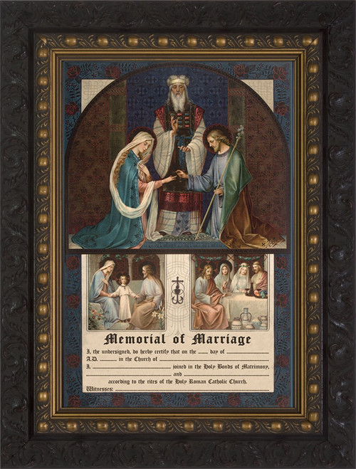 Wedding of Joseph and Mary Memorial of Marriage Ornate Dark Frame