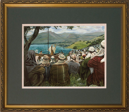 Sermon on the Mount by Jason Jenicke - Matted Gold Framed Art