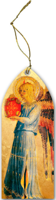Fra Angelico Angel with Tambourine I Wood Ornament