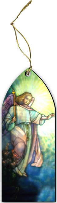 Tiffany Annunciation Angel Stained Glass Wood Ornament