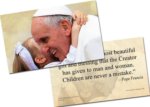 Pope Francis with Child Holy Card