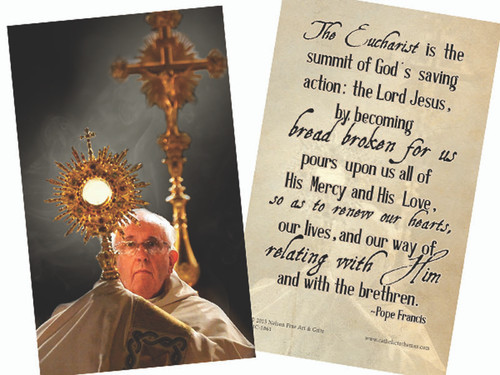 Pope Francis with Monstrance Holy Card