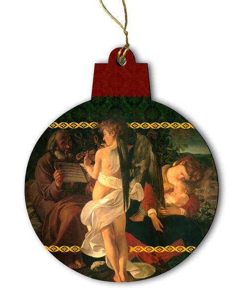 Rest on the Flight into Egypt by Caravaggio Wood Ornament