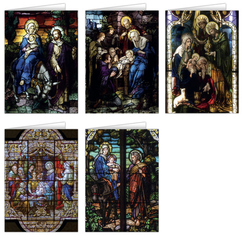 Stained Glass Christmas Card Set (25 Cards)