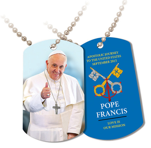 Pope Francis Thumbs Up Commemorative Apostolic Journey Dog Tag