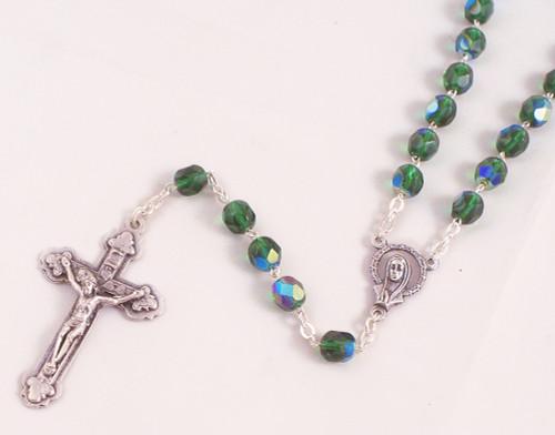Green 6mm Emerald Glass Bead Rosary