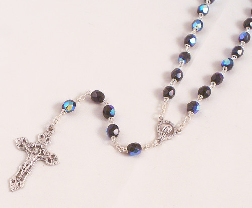 Amethyst 6mm Black Refracted Glass Bead Rosary