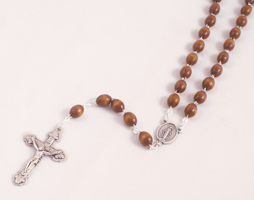 Premium Wood 6mm Bead Rosary with Miraculous Medal Center