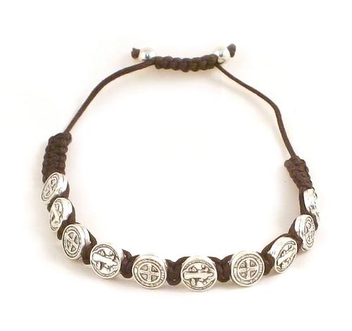 Benedictine Medal and Dark Brown Cord Bracelet