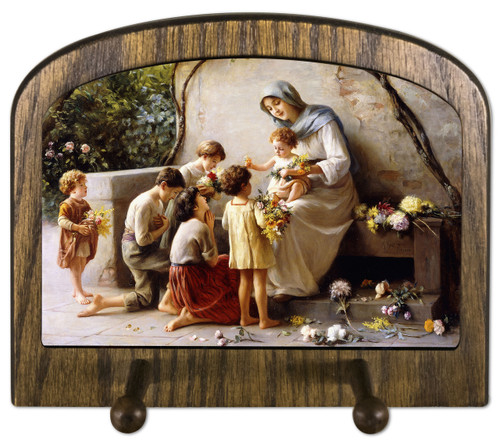 Adoration (Mary and Jesus with Children) by Giuseppe Magni Horizontal Peg Holder