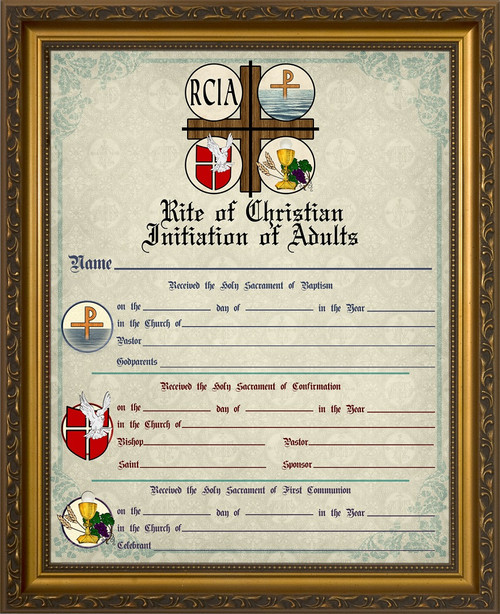RCIA Sacrament Certificate of Initiation in Gold Frame - Catholic to ...