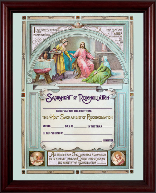 Traditional First Reconciliation Sacrament of Confession Certificate in Cherry Frame