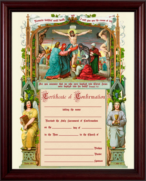 Traditional Confirmation Sacrament Certificate with Crucifixion in Cherry Frame