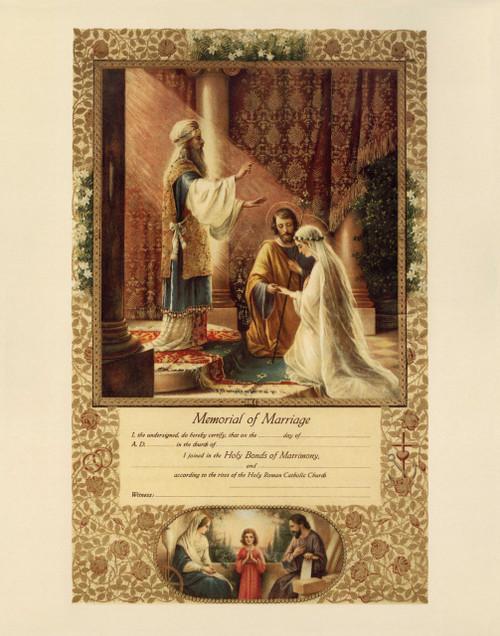 Wedding of Joseph & Mary Marriage Sacrament Certificate Unframed