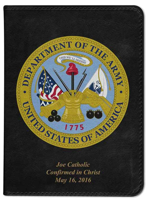 Personalized Catholic Bible with Army Cover - Black RSVCE