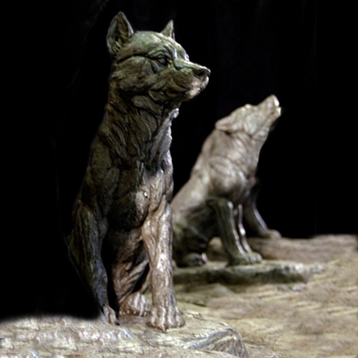 Custom Sitting Wolf