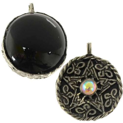Pentagrams pentacles necklaces pendants spell pendants fancy pentagram pendant with black onyx scrying disk aloadofball Image collections